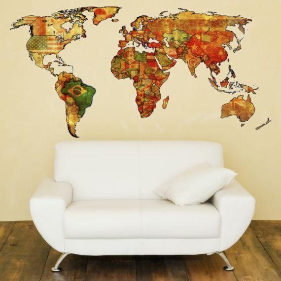 Mapa do Mundo em adesivo decorativo