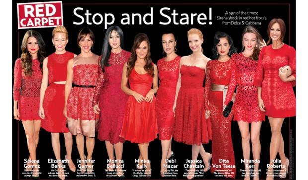 De vestido vermelho no Red Carpet