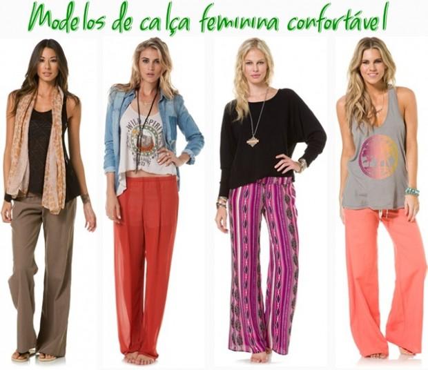 modelos calças de tecido fresco 620x536 Modelos de calça feminina de tecido leve e confortável