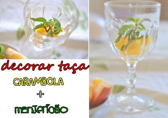 taça decorada para drinks e frutas para suco