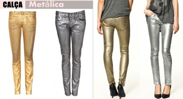 calça brilhosa ou metálica para estilo no carnaval