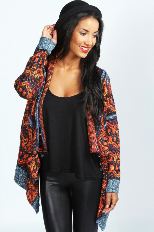 cardigan estampado multicolorido