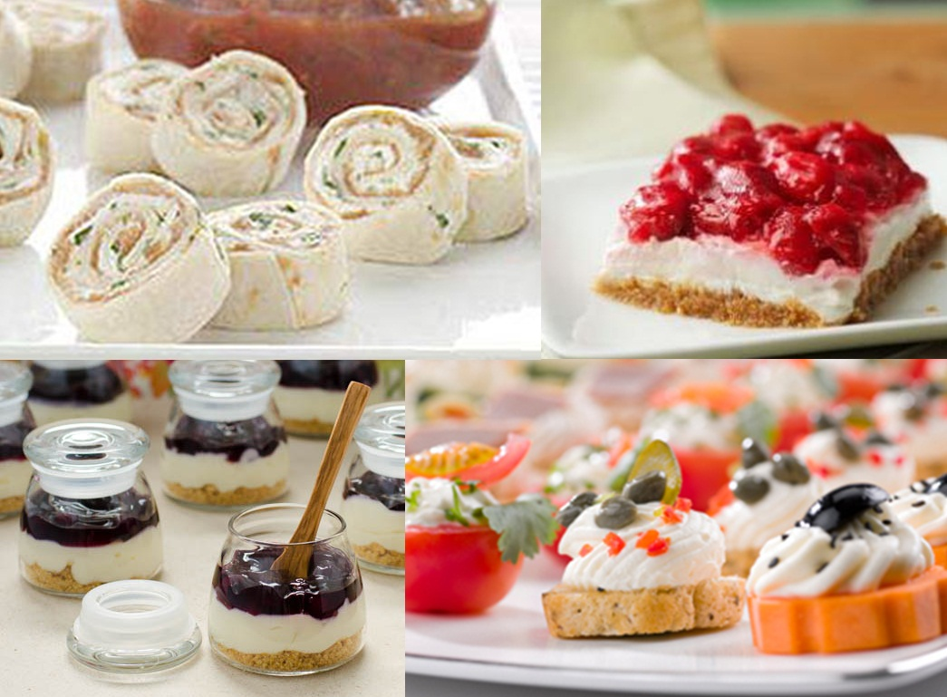 canapés, tortas e doces com cream cheese
