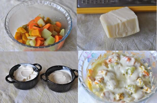 mix de legumes ao creme de queijo