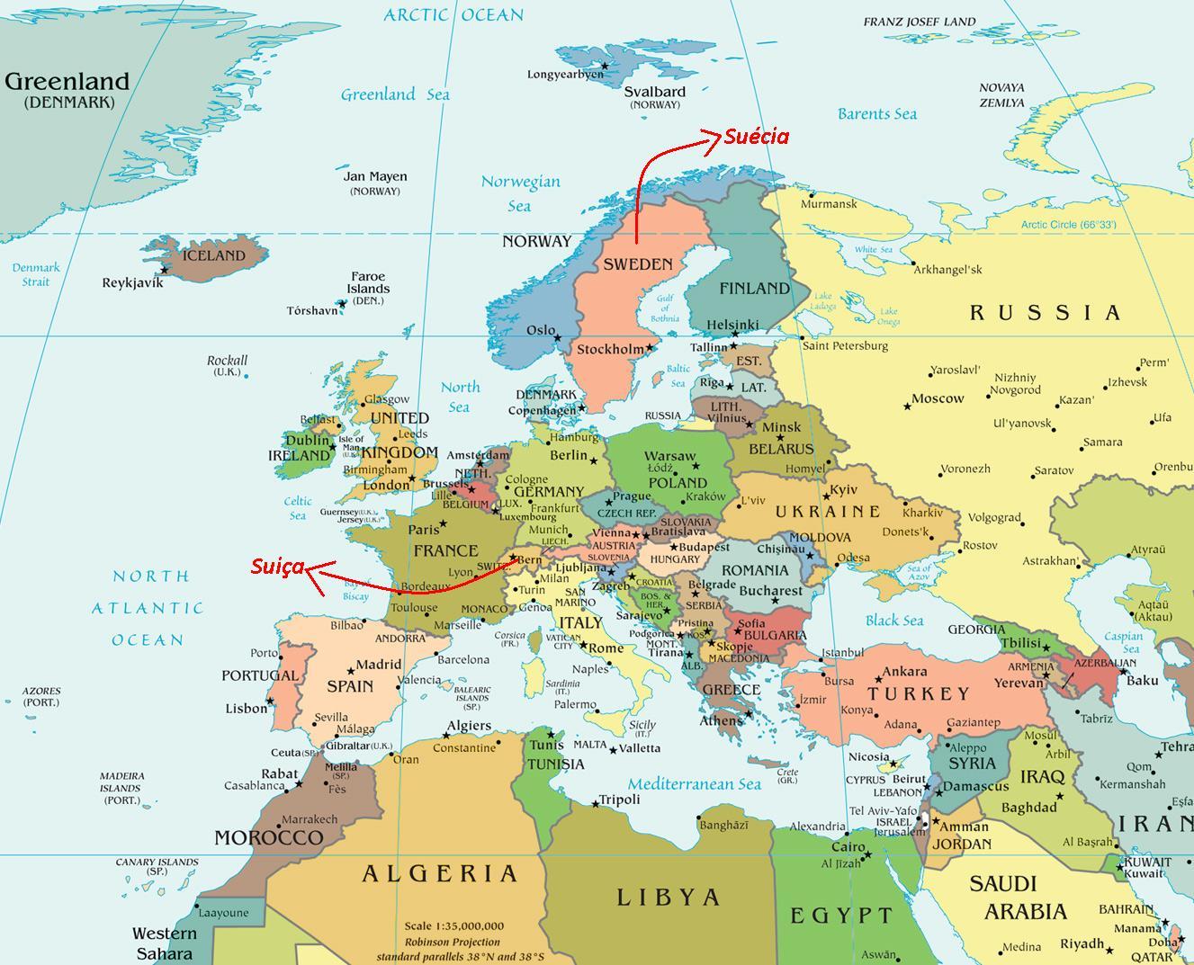 Mapa da Suécia