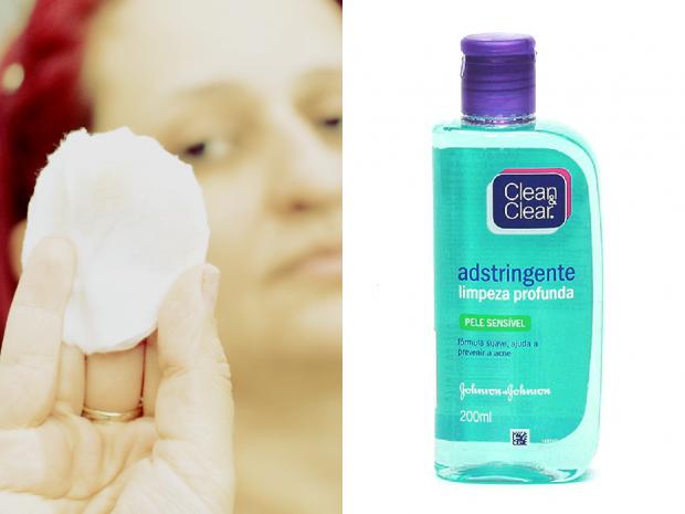 Finalização limpeza do rosto com adstrigente